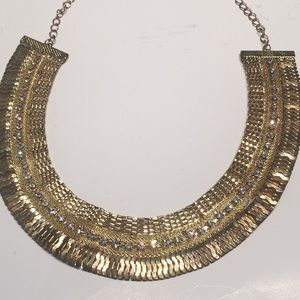 Regal Egyptian style Gold & Crystals Necklace